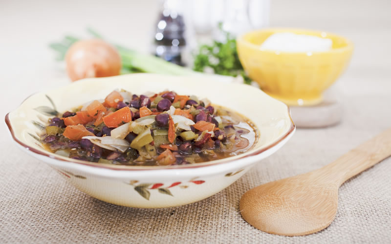 Black Bean Soup with Mango Relish